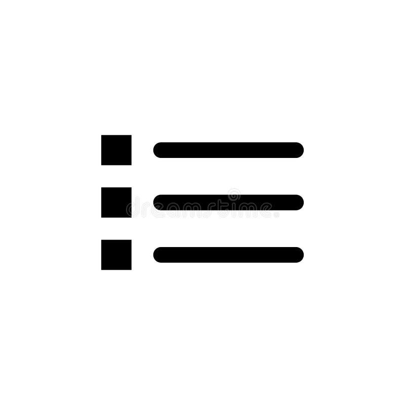 Kogel, lijstpictogram De tekens en de symbolen kunnen voor Web, embleem, mobiele toepassing, UI, UX worden gebruikt vector illustratie