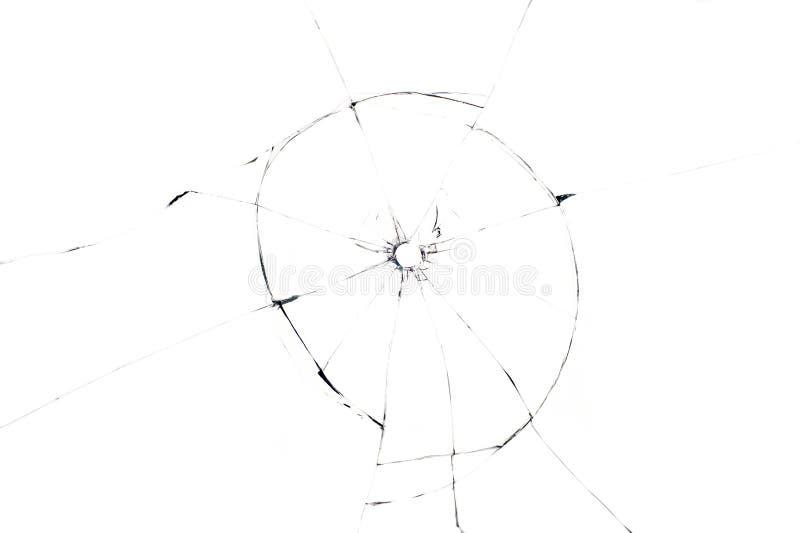 Kogelgat in glas dichte omhooggaand op witte achtergrond royalty-vrije stock foto