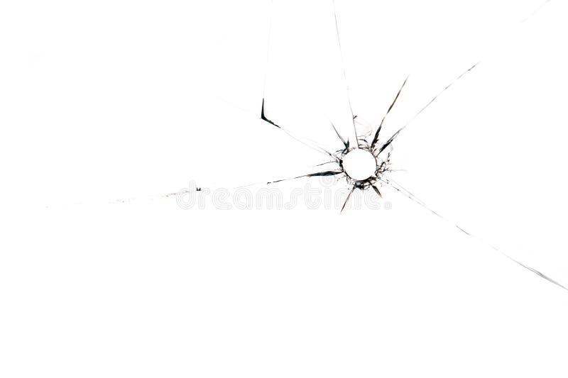 Kogelgat in glas dichte omhooggaand op witte achtergrond stock afbeelding