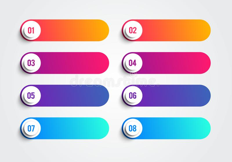 Kogelpunten met Nummer 1 tot 8 in Kleurrijke Tekstvakken Vector Webelement royalty-vrije illustratie