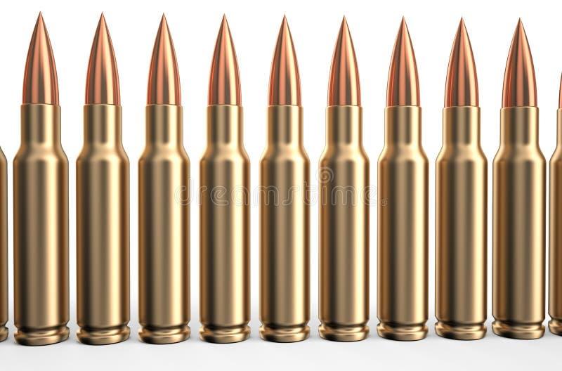 Kogels in een rij royalty-vrije stock afbeeldingen