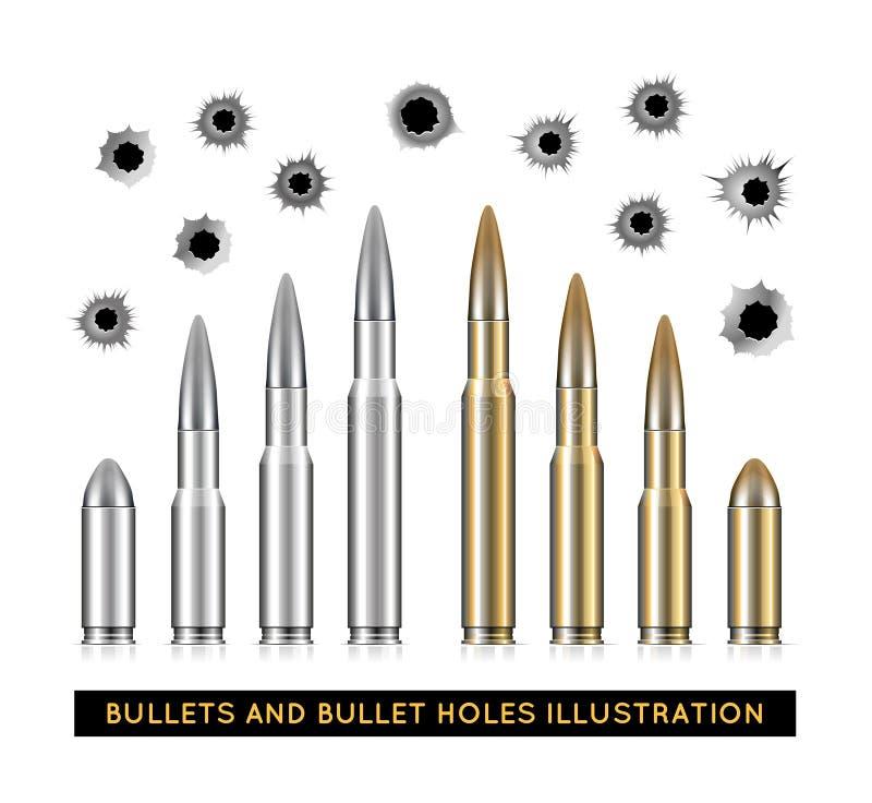 Kogels en kogelgaten Vector illustratie stock illustratie
