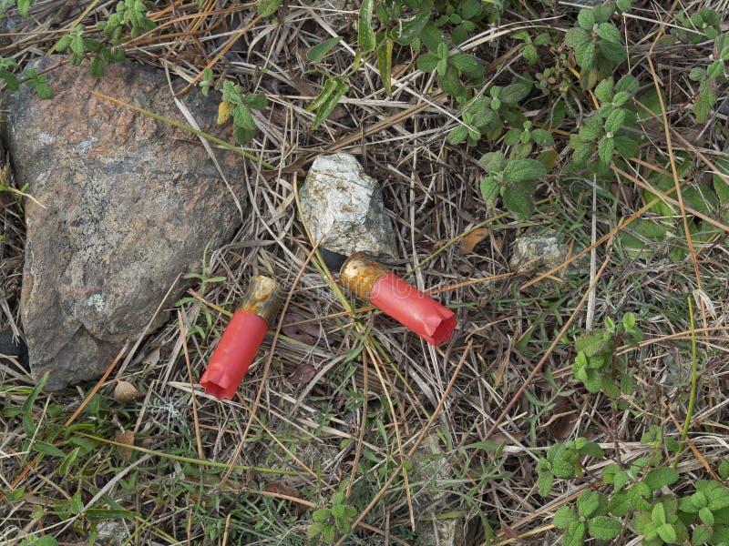Kogels van de munitie van de Jachtpatronen verlaten op groud royalty-vrije stock afbeelding