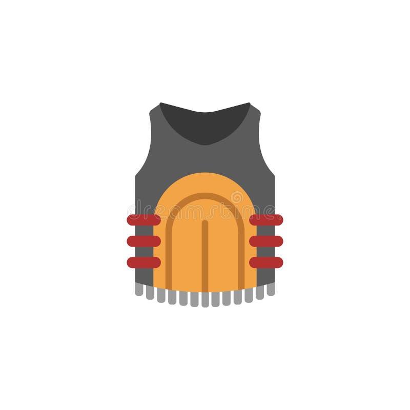 Kogelvrij, vest gekleurd pictogram Kleurenelement van oorlog, pantserillustratie Grafisch het ontwerppictogram van de premiekwali vector illustratie