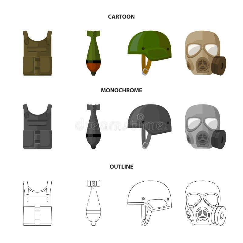 Kogelvrij vest, mijn, helm, gasmasker Pictogrammen van de militaire en leger de vastgestelde inzameling in beeldverhaal, overzich vector illustratie