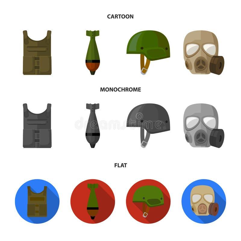 Kogelvrij vest, mijn, helm, gasmasker Pictogrammen van de militaire en leger de vastgestelde inzameling in beeldverhaal, vlakke,  vector illustratie