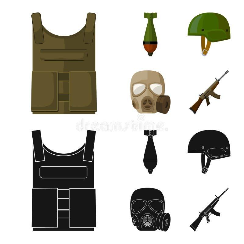 Kogelvrij vest, mijn, helm, gasmasker Pictogrammen van de militaire en leger de vastgestelde inzameling in beeldverhaal, zwart st vector illustratie