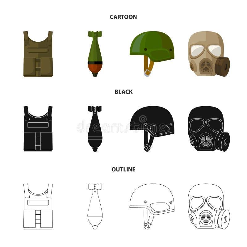Kogelvrij vest, mijn, helm, gasmasker Pictogrammen van de militaire en leger de vastgestelde inzameling in beeldverhaal, zwarte,  royalty-vrije illustratie