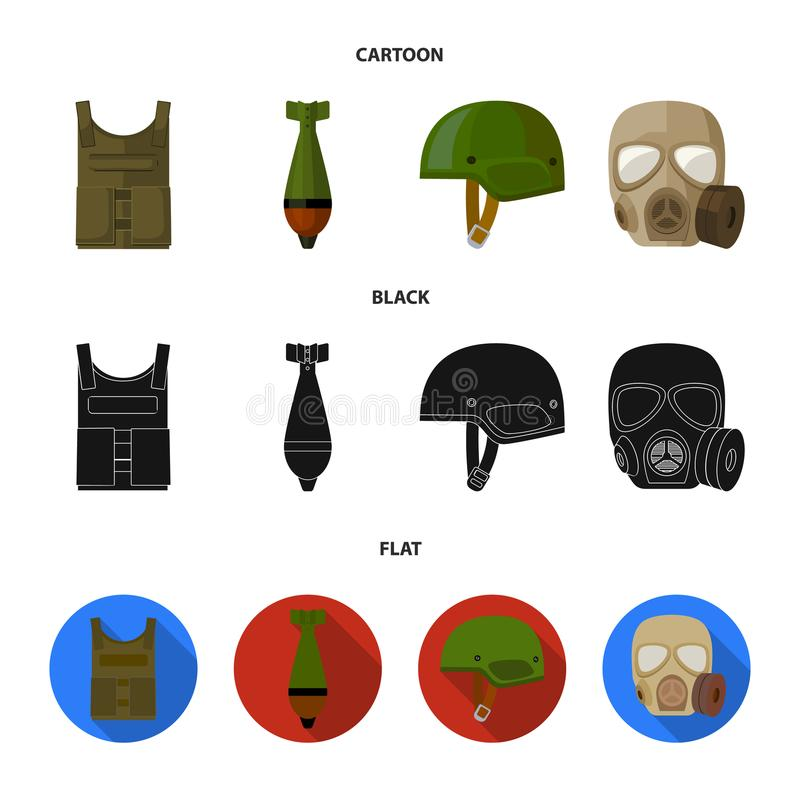 Kogelvrij vest, mijn, helm, gasmasker Pictogrammen van de militaire en leger de vastgestelde inzameling in beeldverhaal, zwarte,  stock illustratie