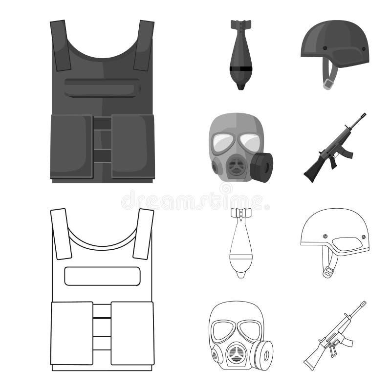 Kogelvrij vest, mijn, helm, gasmasker Pictogrammen van de militaire en leger de vastgestelde inzameling in overzicht, zwart-wit s vector illustratie