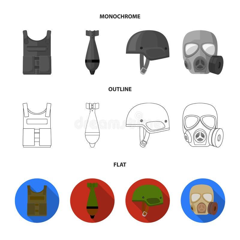 Kogelvrij vest, mijn, helm, gasmasker Pictogrammen van de militaire en leger de vastgestelde inzameling in vlakte, overzicht, zwa vector illustratie