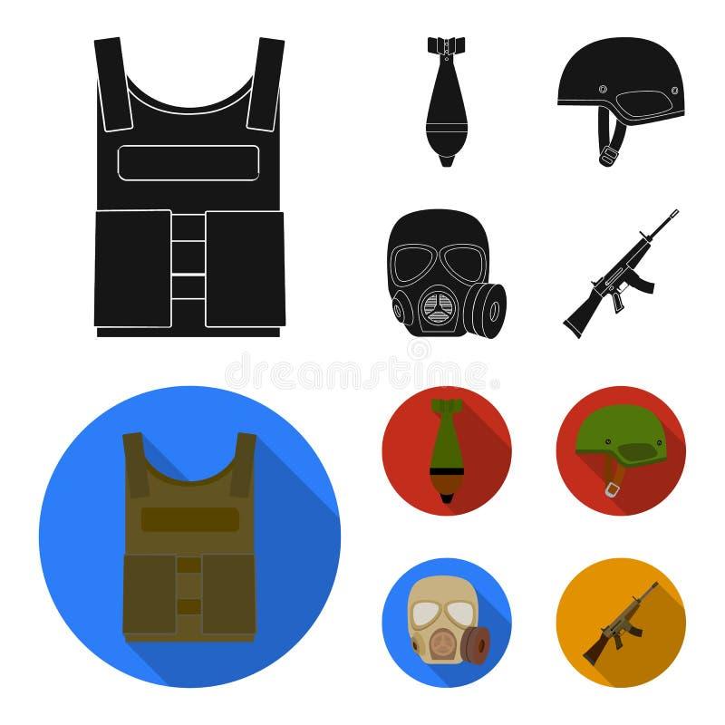 Kogelvrij vest, mijn, helm, gasmasker Pictogrammen van de militaire en leger de vastgestelde inzameling in zwart, vlak stijl vect vector illustratie
