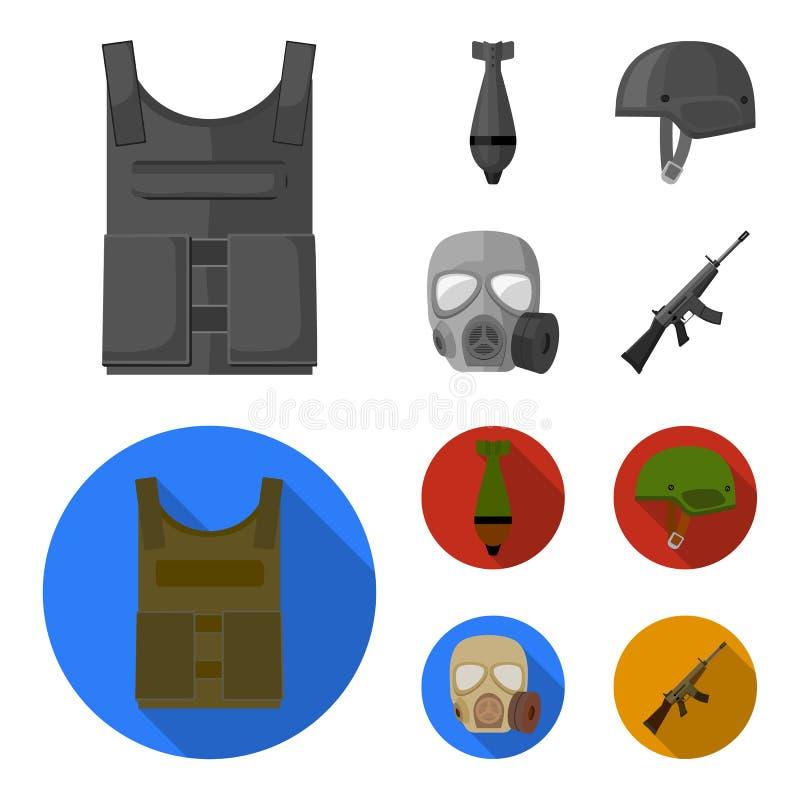 Kogelvrij vest, mijn, helm, gasmasker Pictogrammen van de militaire en leger de vastgestelde inzameling in zwart-wit, vlak stijl  vector illustratie
