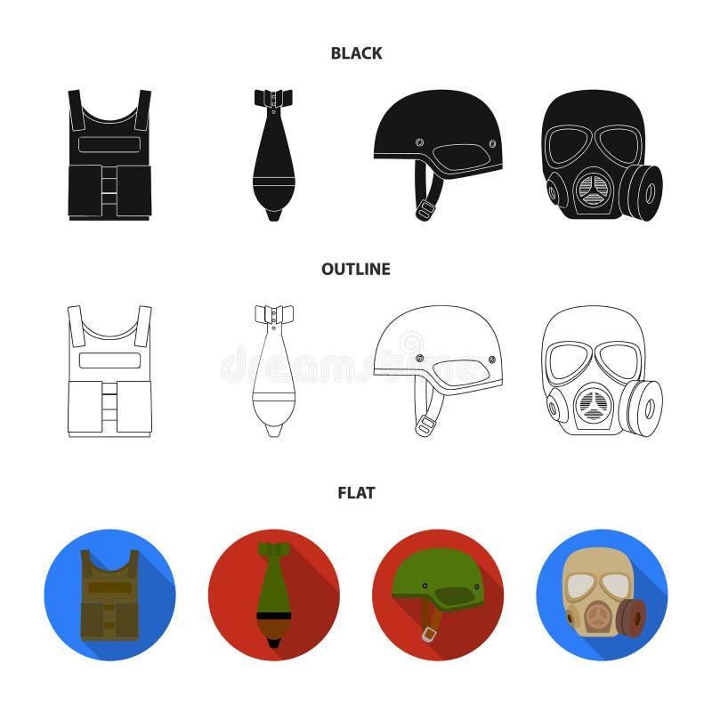 Kogelvrij vest, mijn, helm, gasmasker Pictogrammen van de militaire en leger de vastgestelde inzameling in zwarte, vlak, de vecto royalty-vrije illustratie