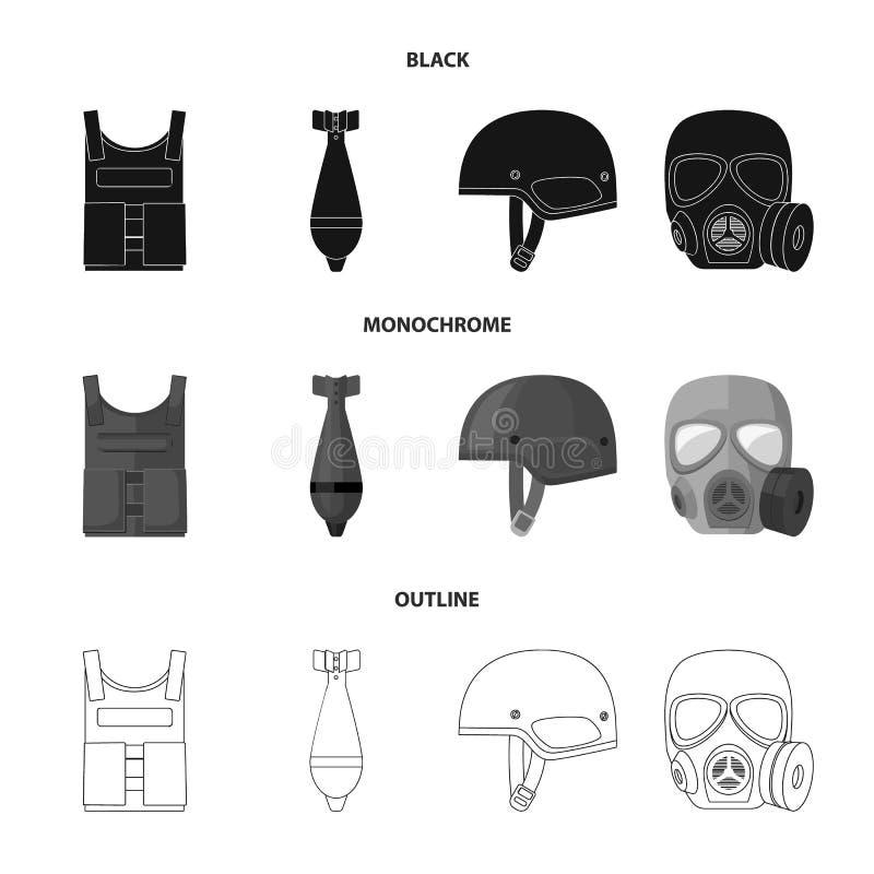 Kogelvrij vest, mijn, helm, gasmasker Pictogrammen van de militaire en leger de vastgestelde inzameling in zwarte, zwart-wit, ove royalty-vrije illustratie