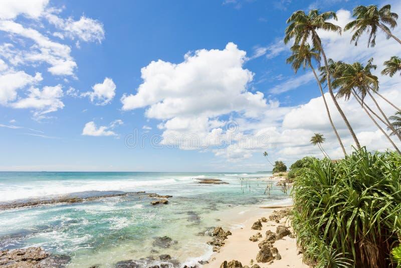 Koggala海滩,斯里兰卡-感到自由,当放松在im时 库存图片