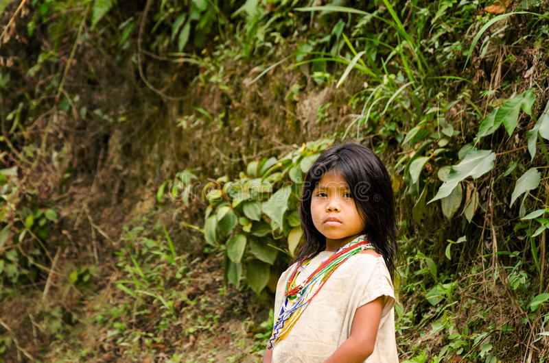 Kogi Indian Girl. MAGDALENA, COLOMBIA - FEBRUARY 3: Kogi Indian on February 3, 2014. The Kogi tribe inhabits the Sierra Nevada de Santa Marta mountain range near royalty free stock images