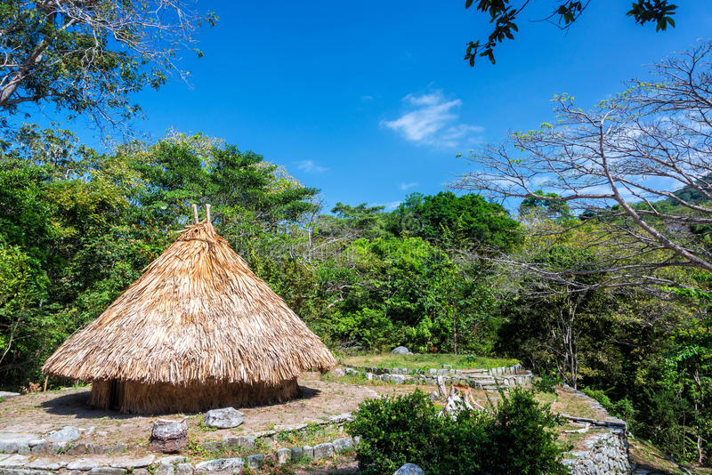 Kogi Indian House. Rustic house of a Kogi Indian in Tayrona National Park near Santa Marta, Colombia stock photo