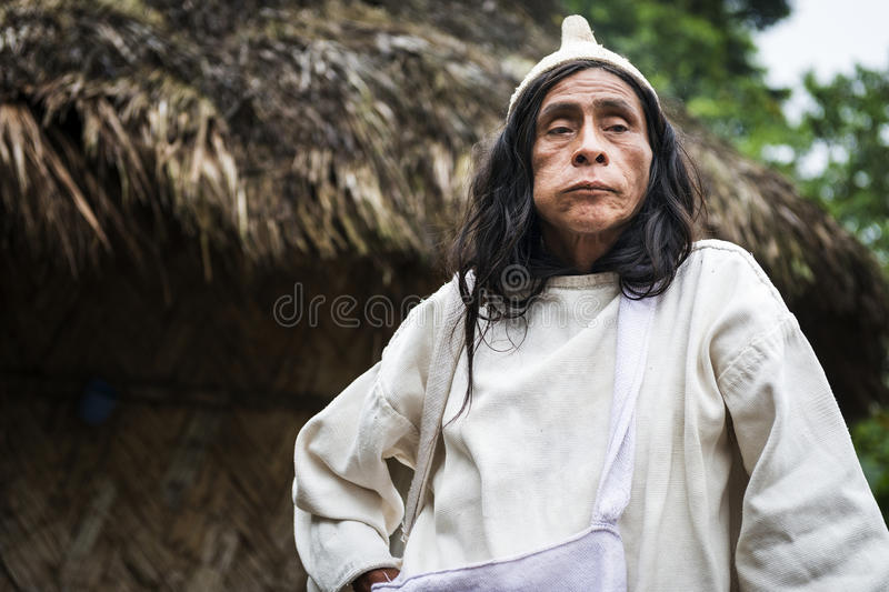 Kogi Mamas shaman chewing coca leaves in front of a hut in the forest in the Sierra Nevada de Santa Marta. Sierra Nevada de Santa Marta, Colombia - March 8, 2014 stock photo
