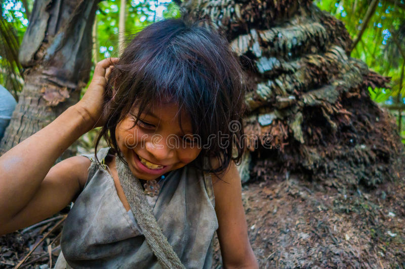 Kogi people, indigenous ethnic group, Colombia. MAGDALENA, COLOMBIA - FEBRUARY 20, 2015: Unknow girl belonging to the Kogi people, indigenous ethnic group stock photography