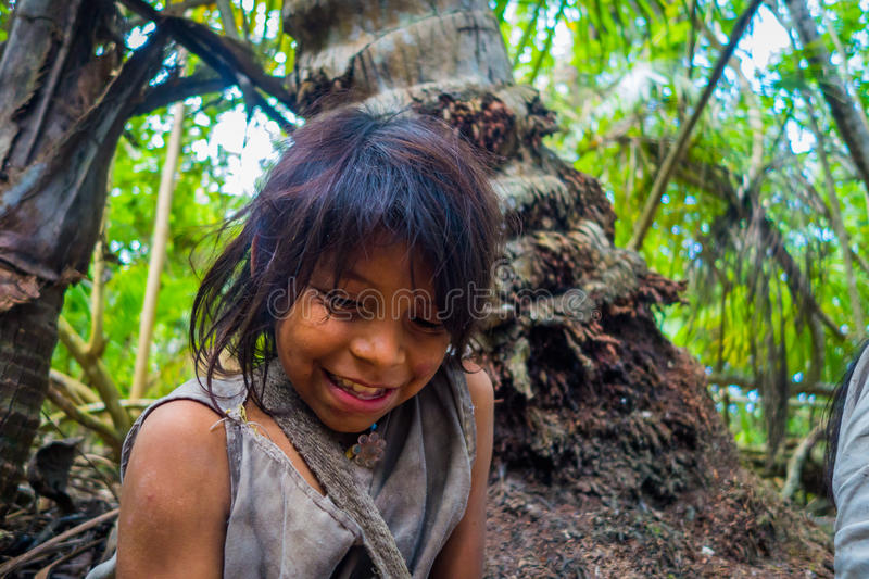 Kogi people, indigenous ethnic group, Colombia. MAGDALENA, COLOMBIA - FEBRUARY 20, 2015: Unknow girl belonging to the Kogi people, indigenous ethnic group stock photo