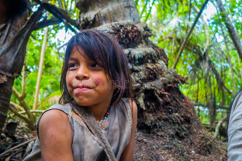 Kogi people, indigenous ethnic group, Colombia. MAGDALENA, COLOMBIA - FEBRUARY 20, 2015: Unknow girl belonging to the Kogi people, indigenous ethnic group royalty free stock photography