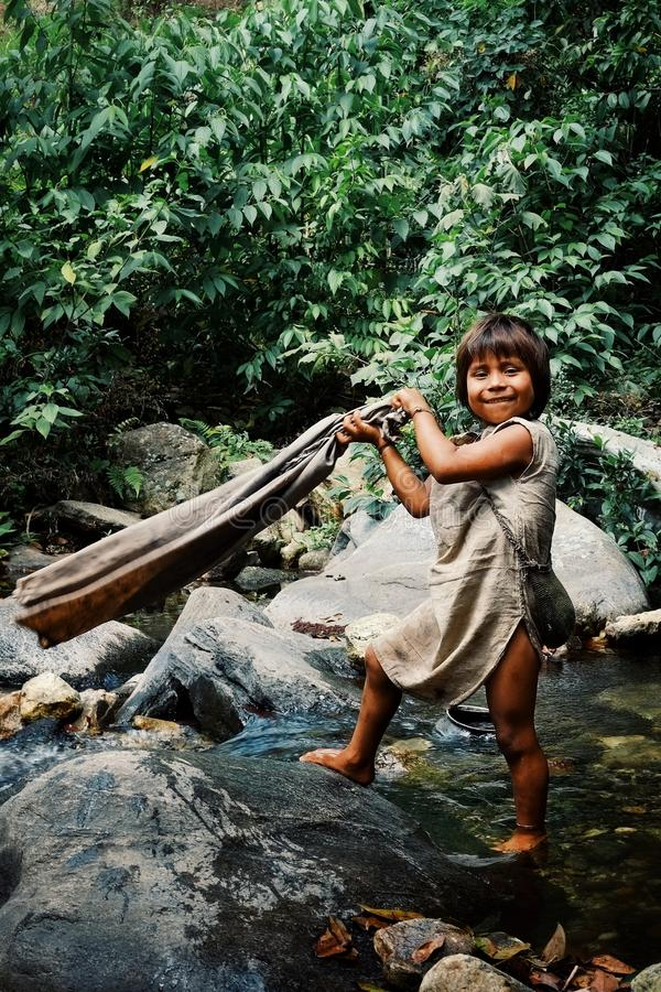 Kogi tribal kid doing laundry in the nearby stream close to their home. Santa Marta, Magdalena / Colombia - MARCH 10 2016 : kogi tribal kid doing laundry in the royalty free stock images