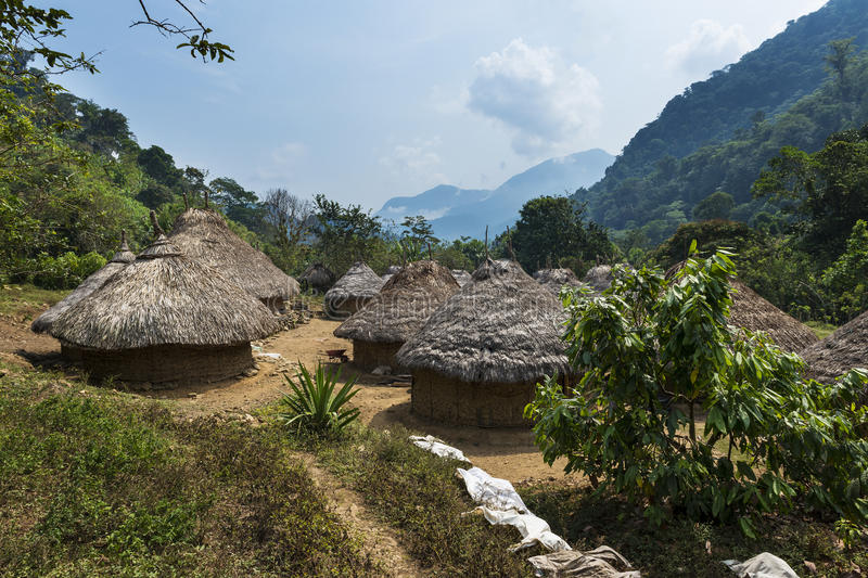 Kogi village in the forest in the Sierra Nevada de Santa Marta in Colombia. South America royalty free stock photography