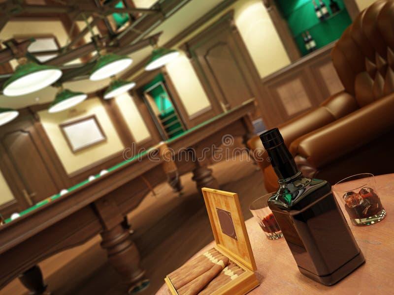 Kognak auf dem Tisch mit einem Kasten Zigarren lizenzfreies stockbild