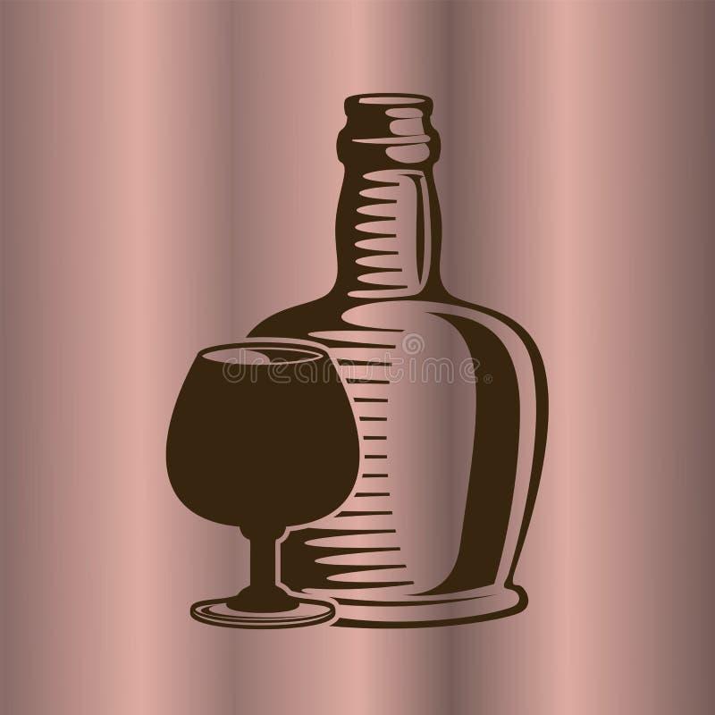 Kognakweinflasche und -glas vektor abbildung