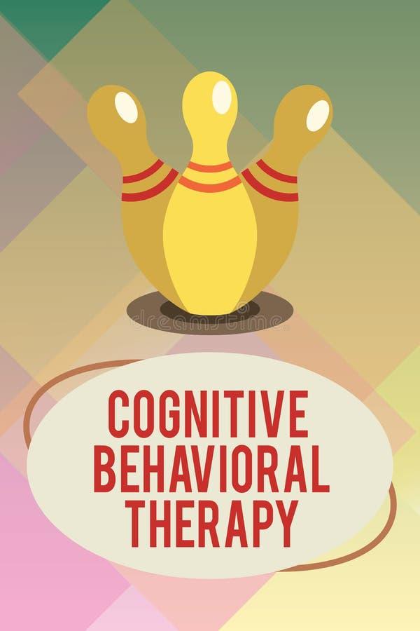 Kognitiv beteende- terapi för handskrifttext Begrepp som betyder psykologisk behandling för psykiska störningar vektor illustrationer