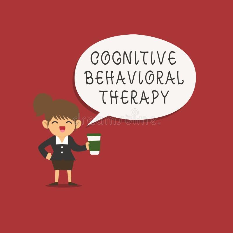 Kognitiv beteende- terapi för ordhandstiltext Affärsidé för psykologisk behandling för psykiska störningar stock illustrationer