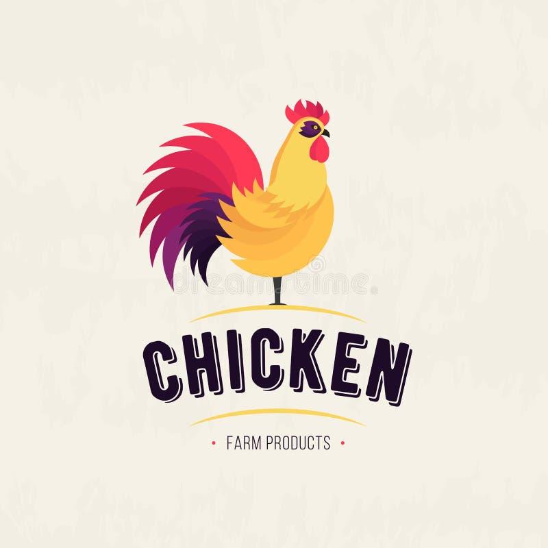 Kogut ikona kogut drób Rolny świeży znak Kurczaka gospodarstwa rolnego mięsny logo, odznaki, sztandary, emblemat i projektów elem ilustracja wektor