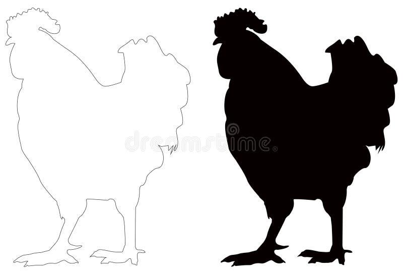 Kogut sylwetka - cockerel lub kogut, jesteśmy męskim grzebiącym ptakiem ilustracji