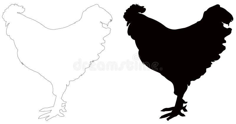 Kogut sylwetka - cockerel lub kogut, jesteśmy męskim grzebiącym ptakiem royalty ilustracja