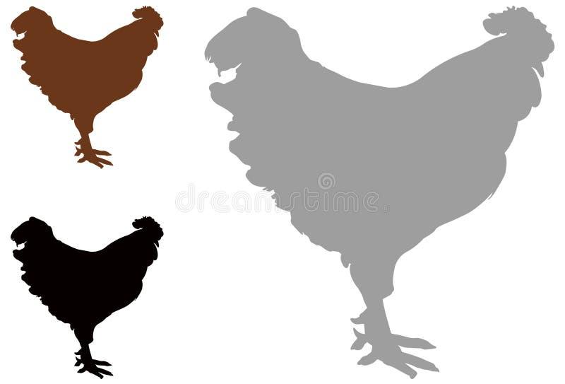 Kogut sylwetka - cockerel lub kogut, jesteśmy męskim grzebiącym ptakiem ilustracja wektor