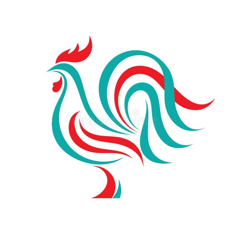 Koguta loga wektorowy pojęcie w kreskowym stylu Ptasia koguta abstrakta ilustracja Koguta logo Wektorowy loga szablon royalty ilustracja