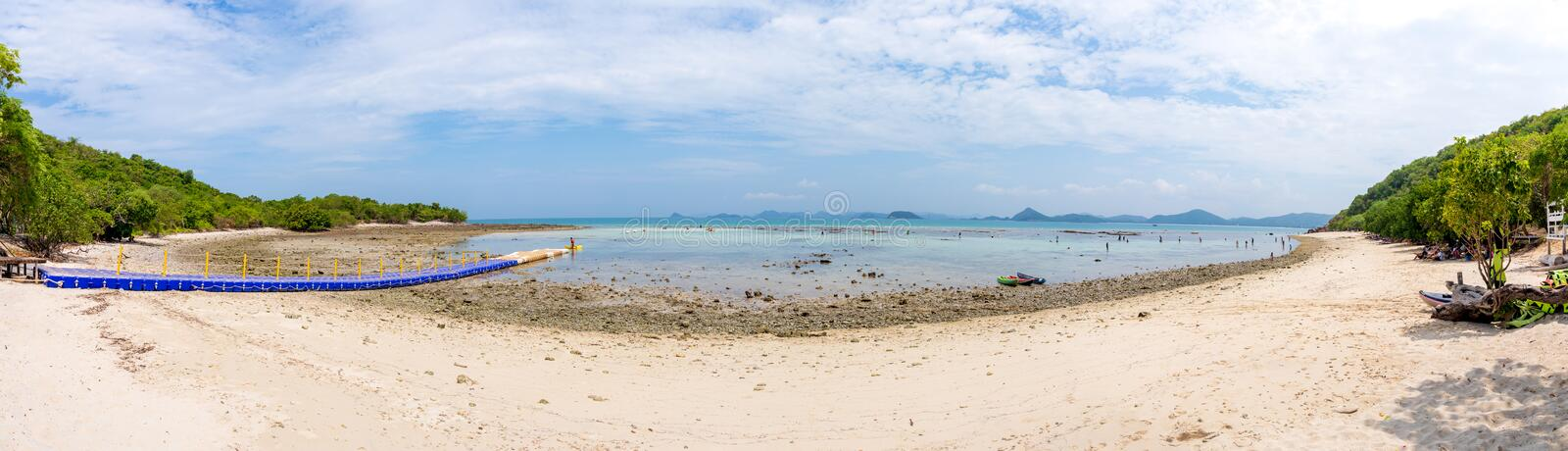 Panorama photo of Bay or sea beach of Koh Kam, Sattahip, Chonburi, Thailand. nature background. Koh Kam, Sattahip, Chonburi, Thailand, 20 May 2019: Panorama stock photos