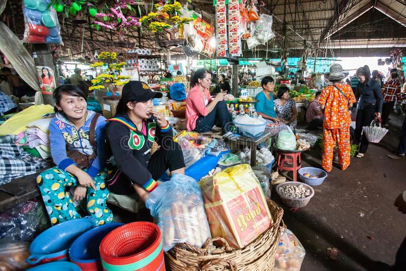Vendor Khmer girls at the local market. Koh Kong Province. stock images
