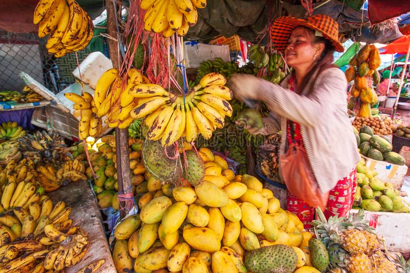 Vendor Khmer woman selling bananas is ripe, mangoes and other tr royalty free stock image
