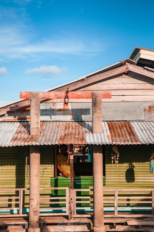 Koh Lanta City, oud de stadsblokhuis van Koh Lanta van visser vil royalty-vrije stock fotografie