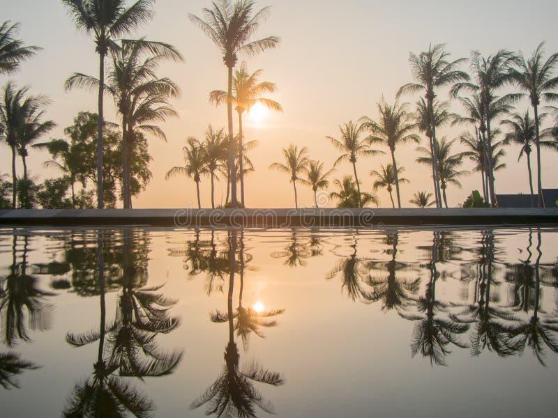 Koh Phangan, TAILÂNDIA - 15 de março de 2017 - por do sol do recurso luxuoso vie imagem de stock royalty free