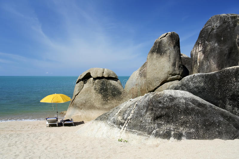 Koh samui beach sun loungers thailand stock images