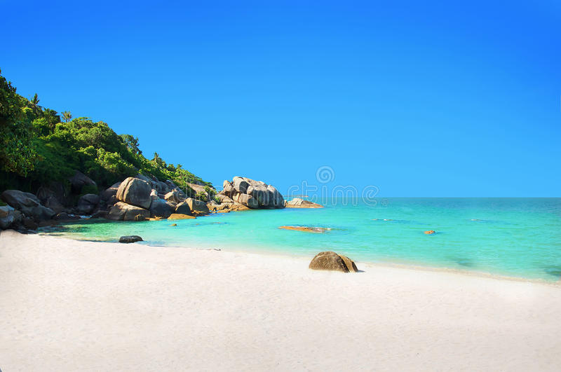 Koh Samui beach with white sand. Chaweng Lamai beach stock photos