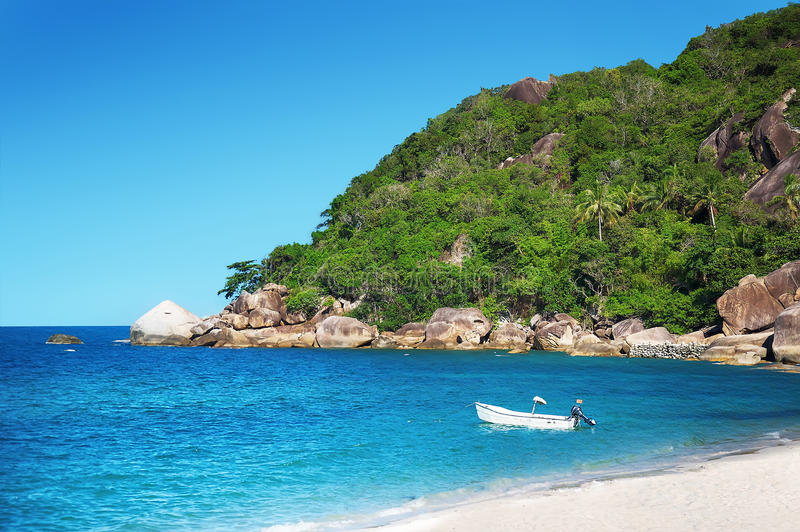 Koh Samui beach with white sand stock images