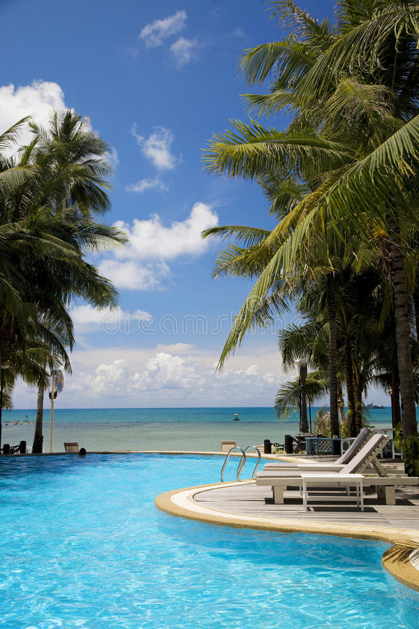 Koh Samui in Thailand. Swimming pool in a resort in Koh Samui island, Thailand royalty free stock photo