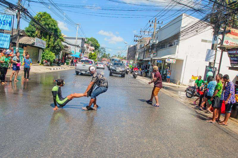 Koh Samui, Thailand - April 13, 2018: Songkran Party - the Thai royalty free stock images