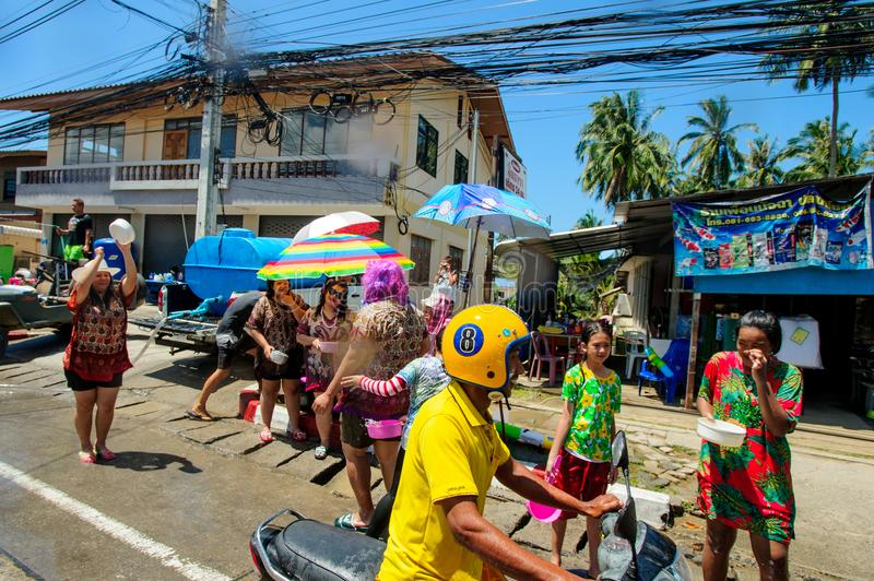 Koh Samui, Thailand - April 13, 2018: Songkran Party - the Thai New Year Festival. People celebrating together stock images