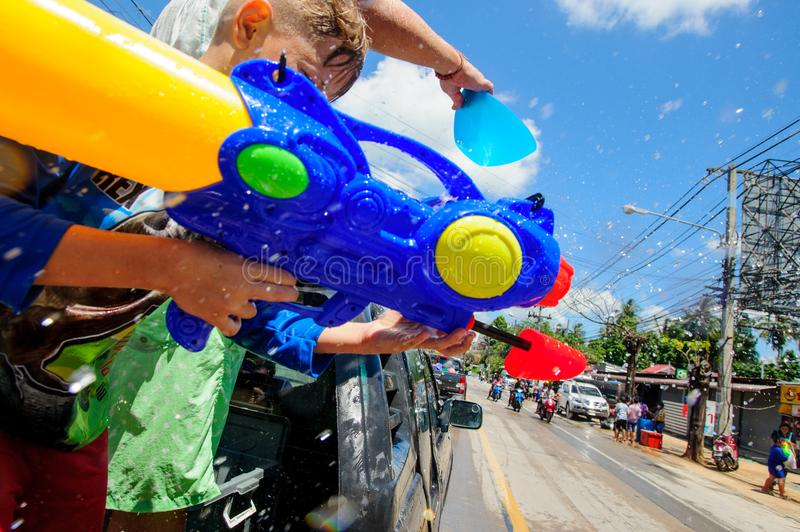 Koh Samui, Thailand - April 13, 2018: Songkran Party - the Thai New Year Festival. People celebrating together royalty free stock image
