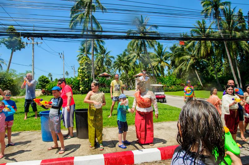 Koh Samui, Thailand - April 13, 2018: Songkran Party - the Thai New Year Festival. People celebrating together royalty free stock images